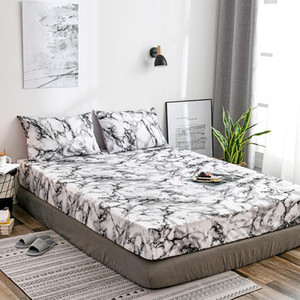 Fitted Sheets Sets Bedding Sets Marble Rock Pattern Mattress Bed Cover Kit Bed Sheets and Pillowcases Sheet Twin Queen King
