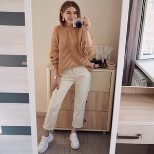 Hirsionsan Winter Sweater Women New Korean Warm Knitted Sweater Loose O Neck Female Pullovers Fashion Solid Female Tops 201012