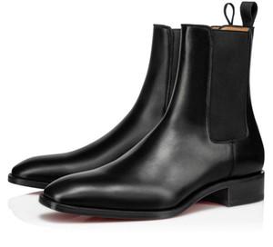 فاخر مصمم الشتاء البطيخ المسامير الكاحل الحذاء الأسود حقيقية جلد سوبر الكمال البطيخ الأحمر للدراجات النارية أسفل أحذية الرجال فارس أحذية