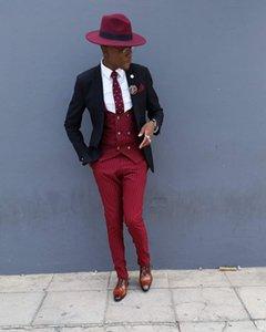 2020 new style slim fit men suits for wedding 3 piece, black jacket red vest with pants Tuxedo Groom Groomsman suit plus size