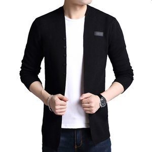 Tfetters Marca Outono Outerwear Outerwear Cardigan Homens Breastsed Selfultivation Black Sweater 201105