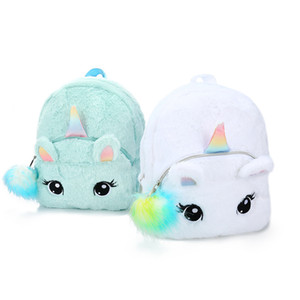 Kid Soft Unicorn SchoolBag Girl Mini Faux Fur Unicorn Backpack Cute Children Zipper Schoolbag Toy Doll Backpack For Kidergarten 201013