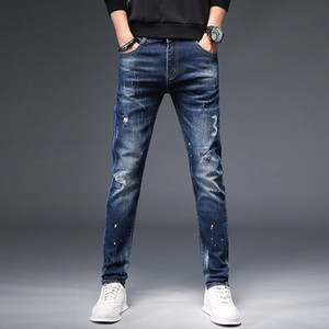 QTW319141 2020 High quality Mens jeans Distressed Motorcycle biker jeans Rock Ripped hole stripe Fashionable pants