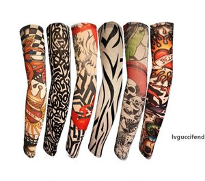 Hot Multi style Elastic Tattoo Sleeves Riding UV Care Cool Printed Sunscreen Arm Protection Glove Fake Temporary Tattoo for Men Women