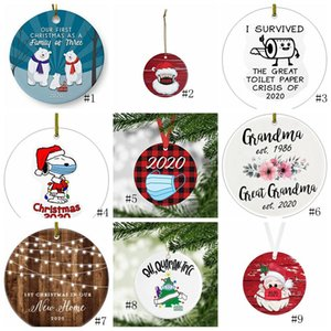 17style de cerámica de Navidad Adornos de 3 pulgadas Ronda árbol de Navidad colgante de Santa que lleva una máscara de Navidad Decoración OWB2953