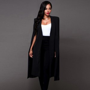 Plus Size England Style Cloak Cape Long Blazer Solid Women Clothes Fashion Loose Causal 2020 Autumn Black White Jacket and Coat