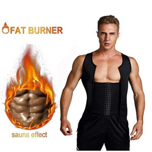NOZAKI 2020 Men Waist Trainer Vest for Weightloss Hot Neoprene Corset Body Shaper Zipper Shapewear Slimming Belt Belly Men1