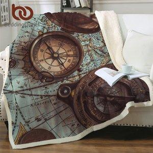 BeddingOutlet CompassBlankets For Beds World Map 3D PrintThrow Blanket Retro StyleFluffy Blanket Navigation Bedspread manta