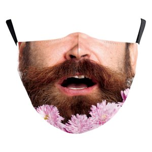 DHL Free Shipping Mask PM2.5 Adults Halloween Human head beard santa claus cotton Cloth Dustproof 3D Printing Washable Dust Mask