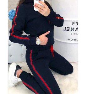 Bayan 2 adet Tasarımcı Takım Elbise Giyim Moda Marka Mektup Baskı Kadın Eşofman Kapüşonlu Uzun Kollu Pantolon Spor Setleri