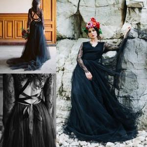 Vintage Gothic Brautkleider mit Langarm-2021-Schwarz-Spitze Tulle Criss Cross Straps Bohemian Land-Braut-Kleider vestido de novia