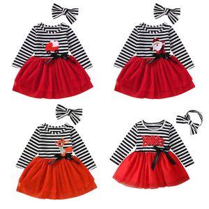 2020 Trajes de Navidad para bebés para niños Niños de manga larga de manga larga Santa Claus Dress + Stripe Bow Headbands 2pcs / Set Children Tutu Dress Trajes M2196