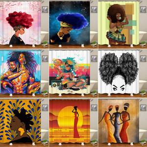 Душевые занавески Bipoobee Africa Сексуальная девушка Ванная комната Афро-американских Женщины Полиэстер Ткань Занавес Ванна Ванна Декор
