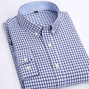 MACROSEA Männer Kleid Oxford Shirts SpringAutumn Plaid \ Gestreifte Smart Casual Shirts Männer Mode Button-Down-Kragen-Hemd
