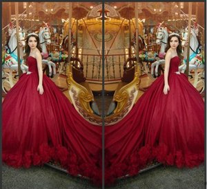 Red Tulle Ball Gown Bohemian Princess Gothic Vintage Luxury PrBurgundy Organza Luxury Arabic Sweetheart Satin Ball Gown Prom Dresses Bead
