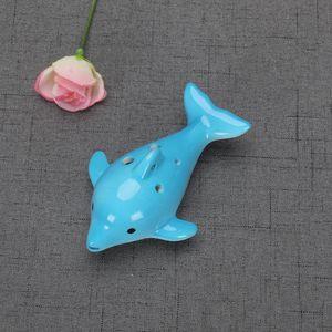 Flûte instrument musical charme animal forme musique musique cadeau jouet 4styles dauphin ocarina éducatif 6 trous céramique p