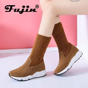 Fujin Women Snow Boots Flock Stretch Sock Breathable Platform Plush Fur Booties Suede Warm Shoes Women Winter Boots Snow Sneaker 201019