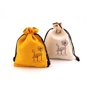 500 шт. 10 * 14 см Холст Сумка для хранения с многоцветным выбором может быть DIY, удобно для окружающей среды DrawStstring Hemp Suit в день и т. Д.