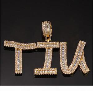 Mens 14K Gold Custom Name Baguette Letter Pendant Necklace Combination Letters Name Pendant 24inch Tennis Necklaces Zirconia Jewelry