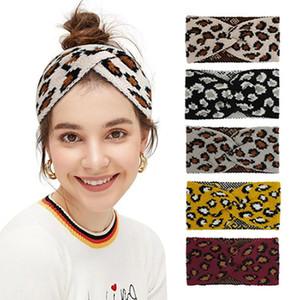 9 Arten Frauen-Leopard-Strickstirnband Mode Criss Cross-Haar-Band-Winter-warme Woll Strickgelegenheitskopfbedeckung Partei-Bevorzugung IIA745