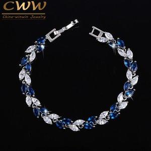 CWWZircons Die neuen 2020 Summer Design Weißgold Farbe österreichische Königsblau-Kristallarmbänder für Frauen Fashion Jewelry CB133