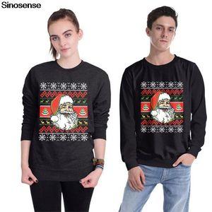Homens Mulheres de férias Santa Flocos de neve Sweater 3D engraçado Impresso Camisola feia do Natal Jumper pulôver gola camisola