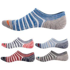 5Pcs Set Men Boat Socks Summer Autumn Stripes Cotton Breathable Anti Slip Low Cut Invisible Socks Solid Color Female Thick Set