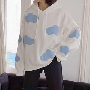 Deeptown Kore Kazak Kadın Kış 2020 Moda Bulutlar Kazak Kadınlar Artı Kadife Sıcak Uzun Kollu Casual Hoodies1 Tops