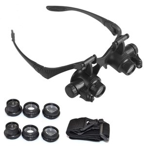 10X 15X 20X 25X Headband Eyewear Watch Repair Watchmaker Magnifier Loupe Jeweler Magnifying Glasses Tool Set with Lamp LED Light T200521