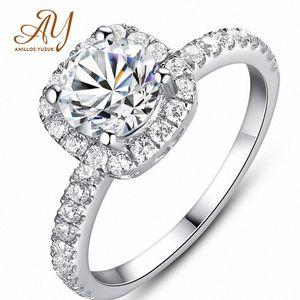 Big Cubic Zirconia Octagonal Ring Fashion Wedding 925 Silver Jewelry Female Engagement Ring Female Crystal Silver yo60#