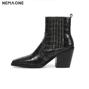Nemaone Brand Stone Grano Microfibra Microfibra Mujeres Botas de la Punta Cuadrada Otoño Invierno Botas Damas Zapatos Tamaño 34-43