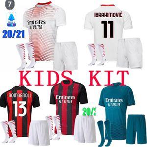 new 20 21 AC milan soccer jersey IBRAHIMOVIC 2020 2021 CALHANOGLU BRAHIM REBIC THEO TONALI PAQUETA BENNACER Camiseta Kids kit football shirt
