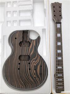 미완성 얼룩말 나무 기타 신체 및 LP 스타일의 기타 키트 DIY 1 개 세트에 적합한 목