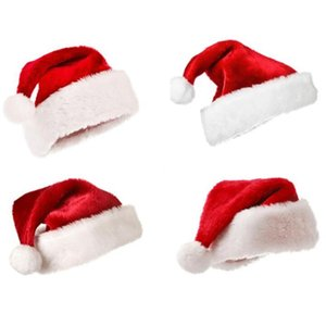 Plush Red Velvet Santa Hat with White Cuffs Party Caps For Boys Girls Children Adult Christmas Gifts Caps Soft Hats Hair Accessories HWB2475