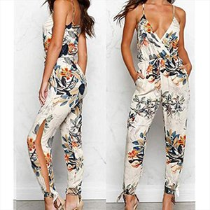 2021 Summer Women Casual Sleeveless V neck Jumpsuits Fashion Ladies Boho Floral Bodysuit Wide Leg Loose Long Pants Trousers