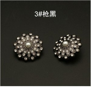 Flower Metal Gold Buttons With Pearl Diamond Rhinestone For Clothing Dress Needlework Women Diy Suit Jeans Sewing But bbygbl