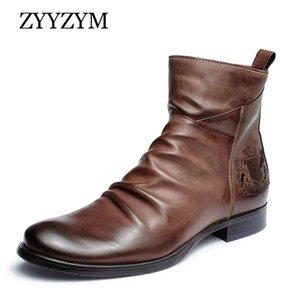 ZYYZYM Men Boots Leather Zipper Autumn Retro Style Badge Embroidery Ankle Army Knights Boots Man Footwear Zapatos De Hombre 201102