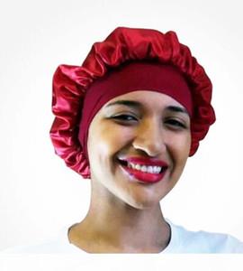 Fashion Satin Bonnet Cap women Long Hair Care hat Women Night Sleep Hat Silk Cap Head Wrap soft hair Accessories PY6