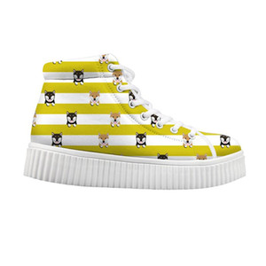 Women Platform Shoes Female Sneakers Comfortable Height Increasin 2020 Autumn Winter 3D shiba lnu Print High Top Canvas shoes