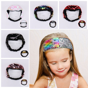 Fashion Reversible Glitter Sequins Hairbands Flip Discolored Fish Scale Women Headbands Wide Head Hoop Lady Girls Hair Accessories VT1770