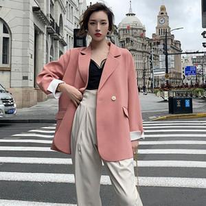 2021 Autumn New Fashion Loose Big Size Jackets Turn-down Collar Long Sleeve Black Blazers Korean Fashion Women Coat