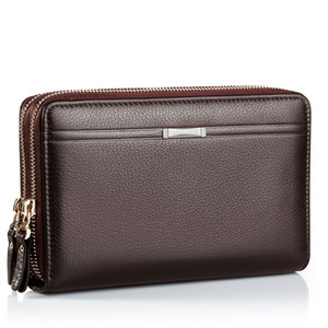 High-Quality Double-Zipper Large-Capacity Men Wallet Card Bag Fashion PU Hand Bag