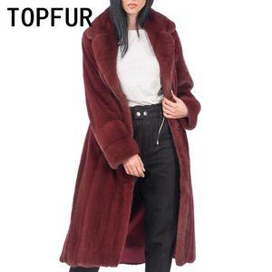 TOPFUR Luxurious Maroon Echt-Mantel-lange weibliche Wintermantel Mode Natürliche Echtpelz Lepal Kragen Plus Size Benutzerdefinierte