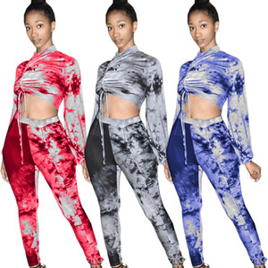 Fashion Tie-dye Printing Women Two Pieces Outfits with Draw String High Neck Long Sleeves Crop Top + Pants Sports Tracksuits Nightclub