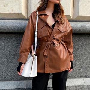 Fandy Lokar PU Leather Coats Women Fashion Loose Pockets Long Sleeve Jackets Women Elegant Tie Belt Waist Coats Female Ladies GC