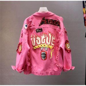 레드 / 옐로우 청바지 재킷 새로운 봄 가을 여성 낙서 알파벳 인쇄 레이스 활 핀 구멍 데님 학생 기본 코트 Y201012