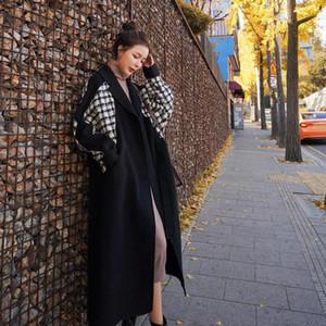 SONDR Uzun Siyah Yün Coat Kadınlar Sonbahar 2020 Kore Kış Fat Yağ Kadın Uzun Karışık Coat Büyük Boyama