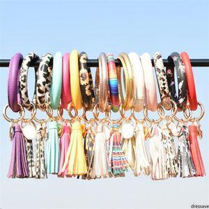 Hot Women Tassels Bracelets PU Leather Wrap Key Ring Leopard Lily Print Keychain Wristband Sunflower Drip Oil Circle Chains Wristlet