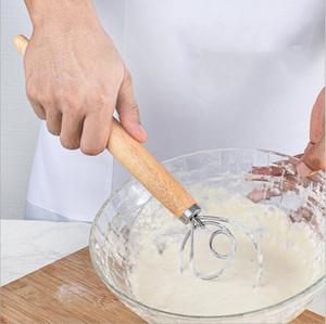 Fouet Fouet Agitateur poignée en bois Mixer inoxydable oeuf acier Eggbeater farine Coil Agitateur ménagers de cuisson Outil LSK1875