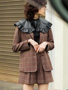 2020 الخريف والشتاء منتجات جديدة الأزياء مزاجه الرجعية تحقق لون مطابقة طية صدر السترة البدلة سترة المرأة